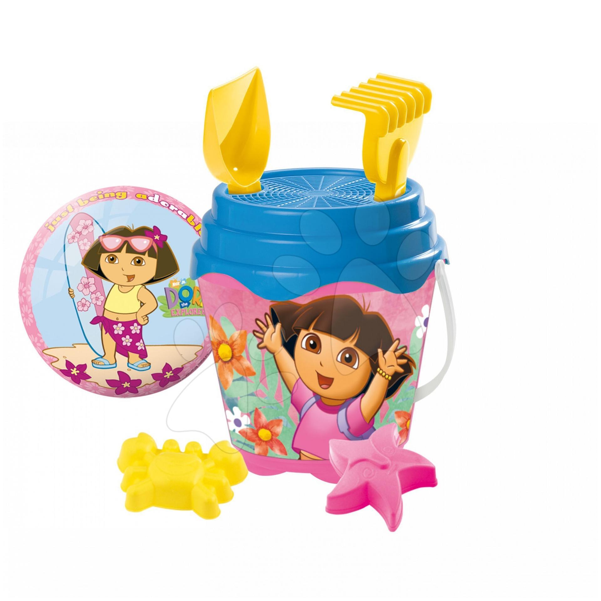 Staré položky - Dora set do písku Mondo kbelík, konvička, sítko, lopatka, hrabičky a dvě bábovičky