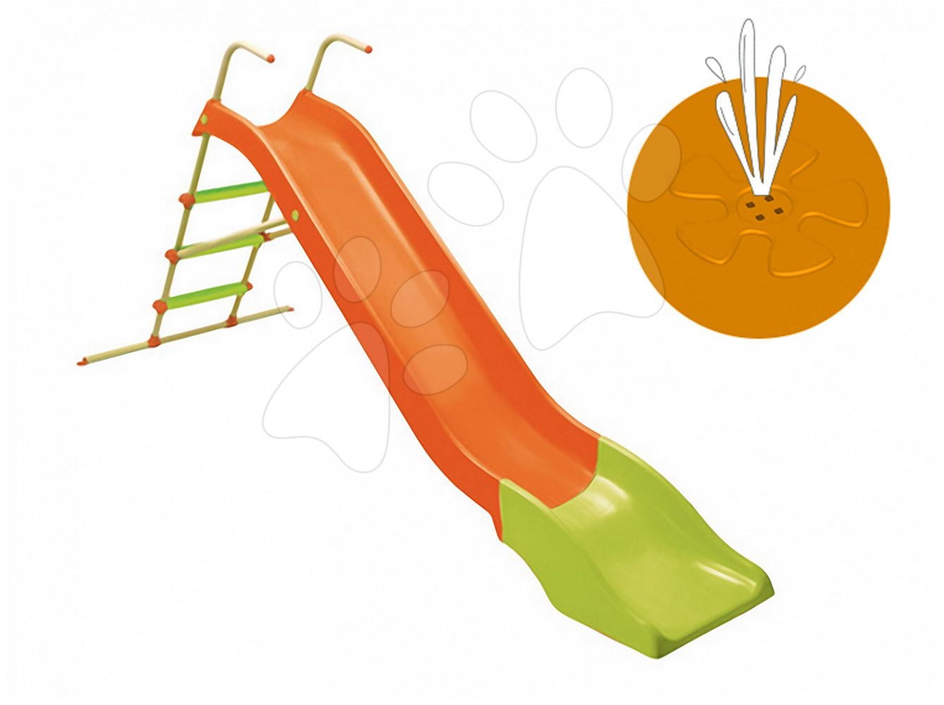 Šmykľavka Starplast rovná s kovovou konštrukciou a vodou dĺžka 2,7 m zeleno-oranžová