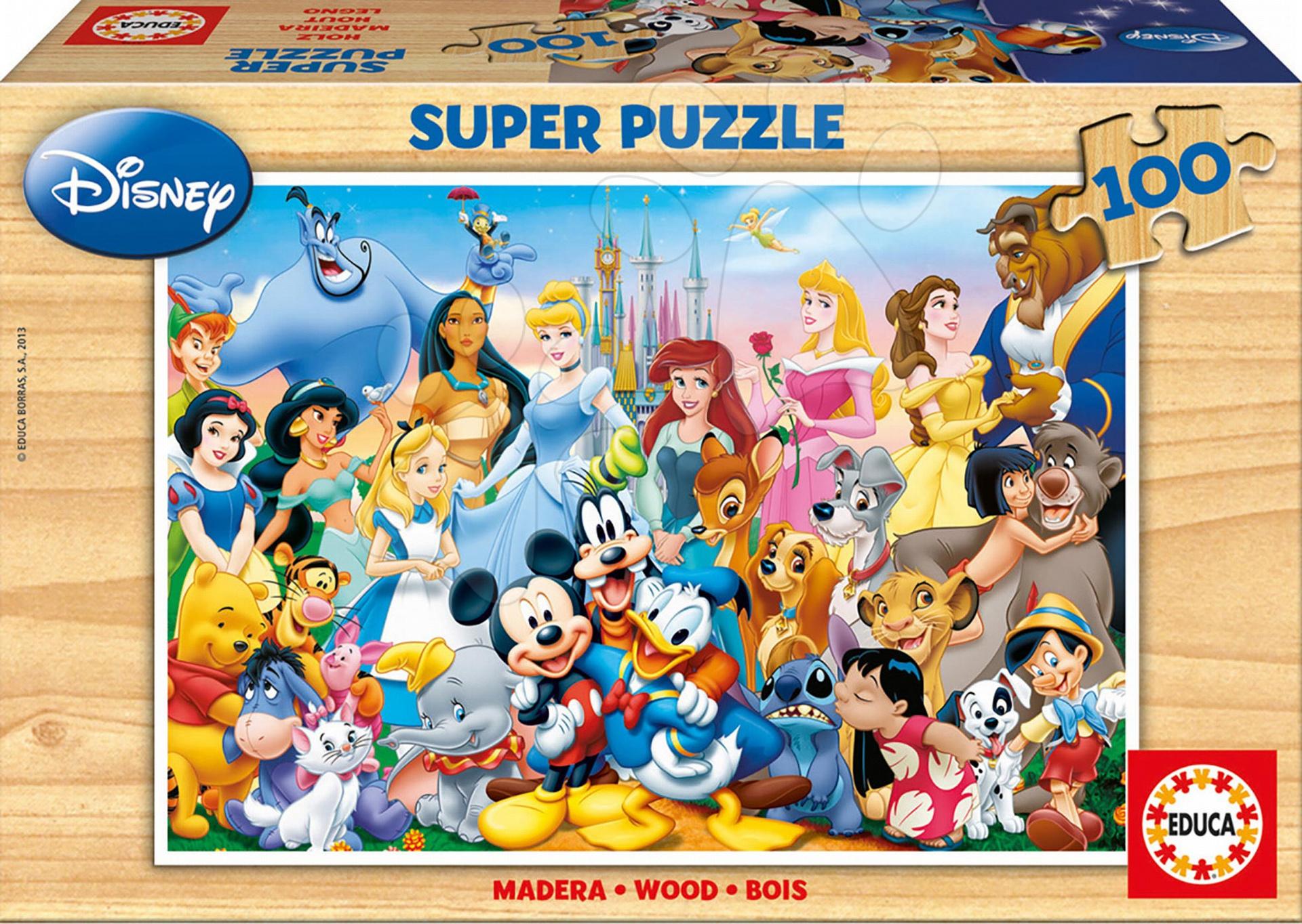 Fából készült Disney - Fa puzzle Disney világ Educa 100 db 5 évtől