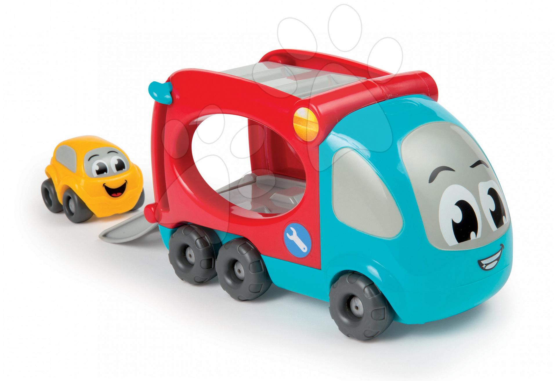 Nákladné autá - Kamión Vroom Planet Smoby dĺžka 21 cm s autíčkom od 12 mes