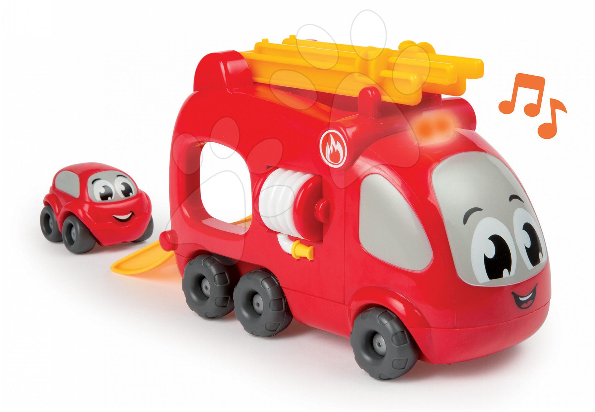 Garáže - Hasičské auto Smoby elektronické s autíčkom dĺžka 21 cm od 12 mes
