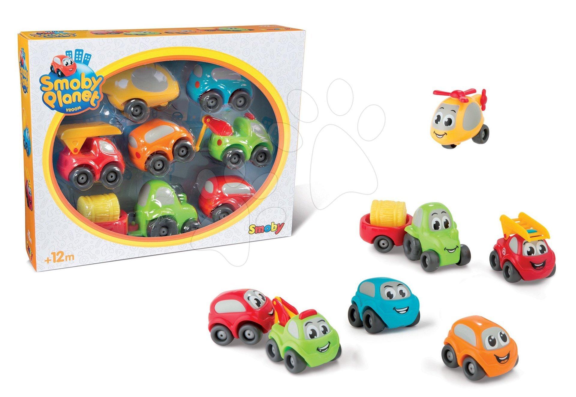Autíčka Vroom Planet Collector Box Smoby sada 6 autíčok, príves s nákladom a vrtuľník pre najmenších od 12 mes