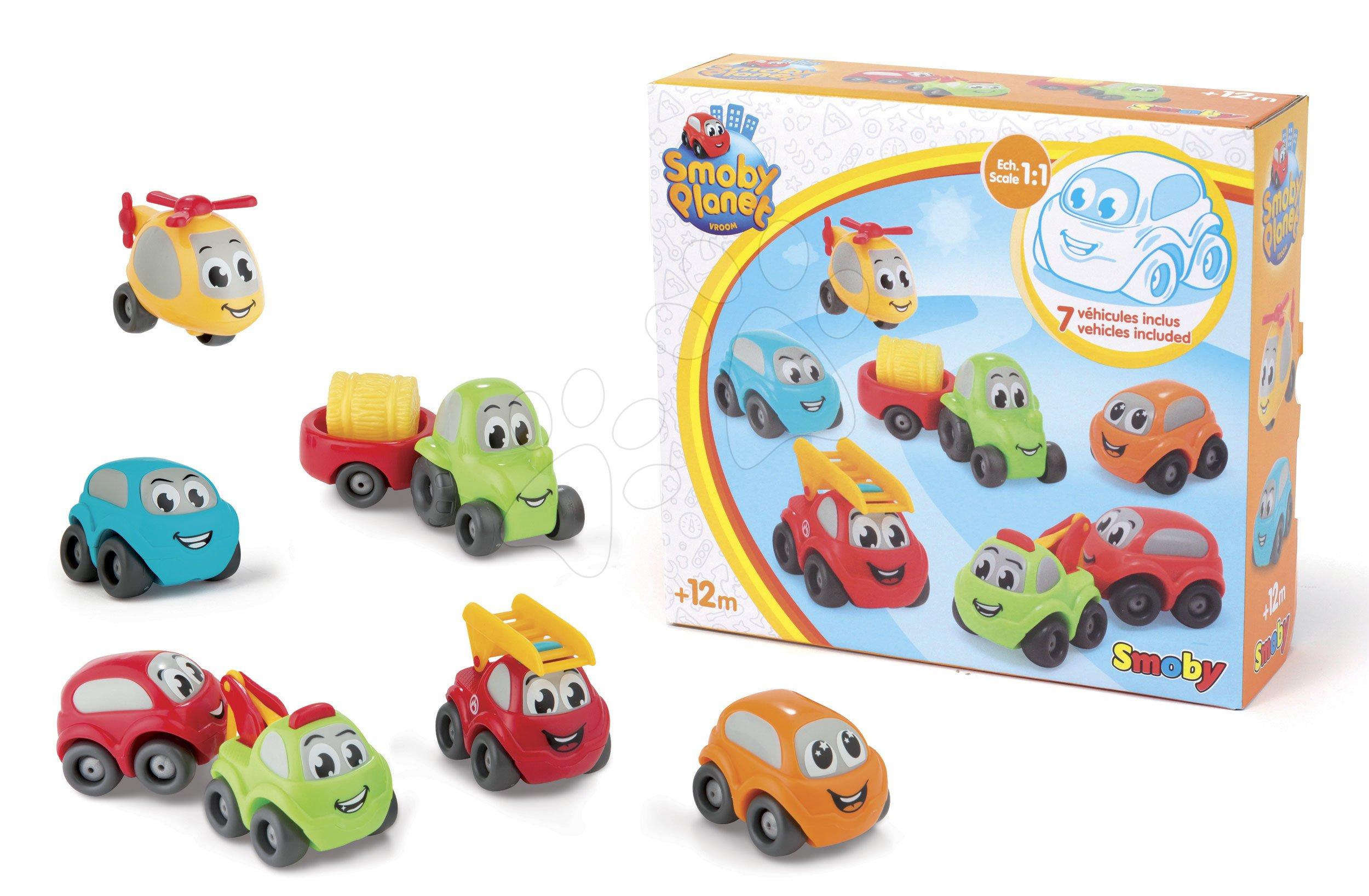 Autíčka Vroom Planet Collector Box Smoby s traktorom 7 kusov pracovné a osobné od 12 mes