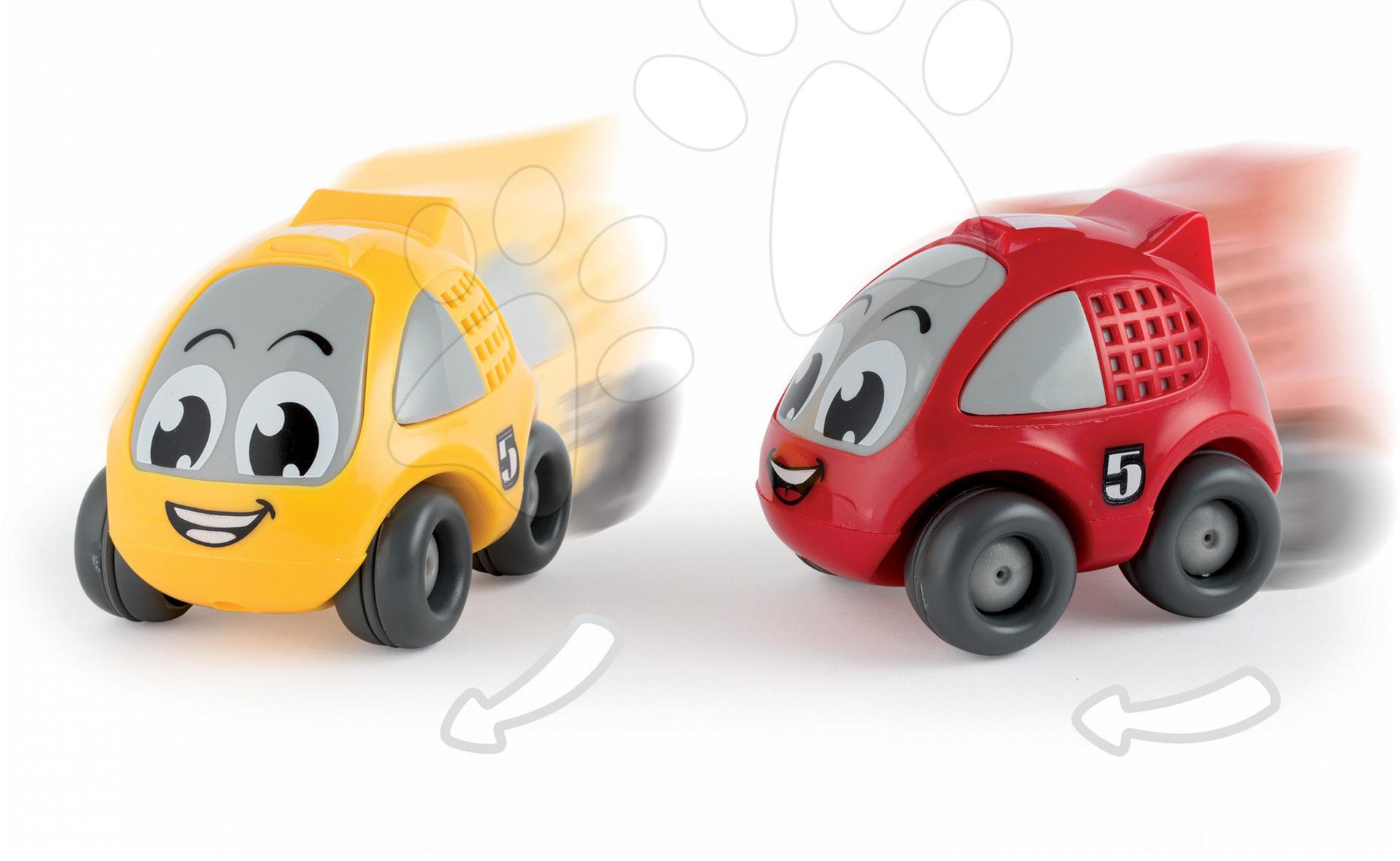 Autíčka - Pretekárske autíčko Vroom Planet Smoby naťahovacie dĺžka 8 cm červené/žlté od 12 mes