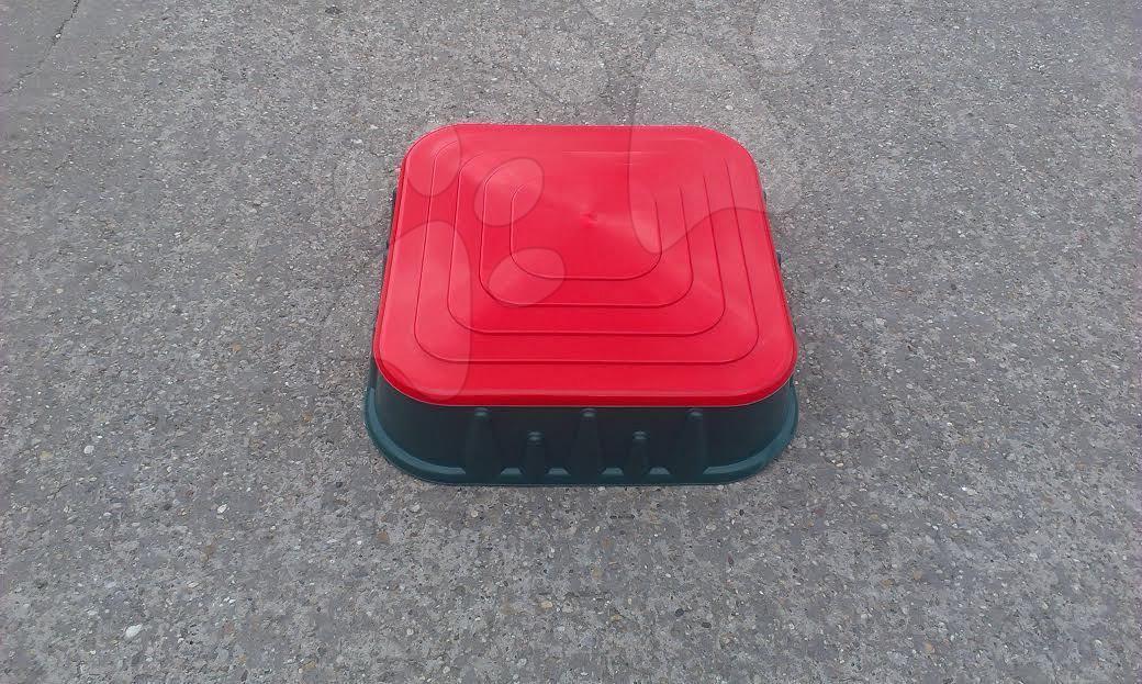 Pieskoviská pre deti - Pieskovisko Starplast štvorcové s krytom objem 60 litrov zeleno-červené od 24 mes