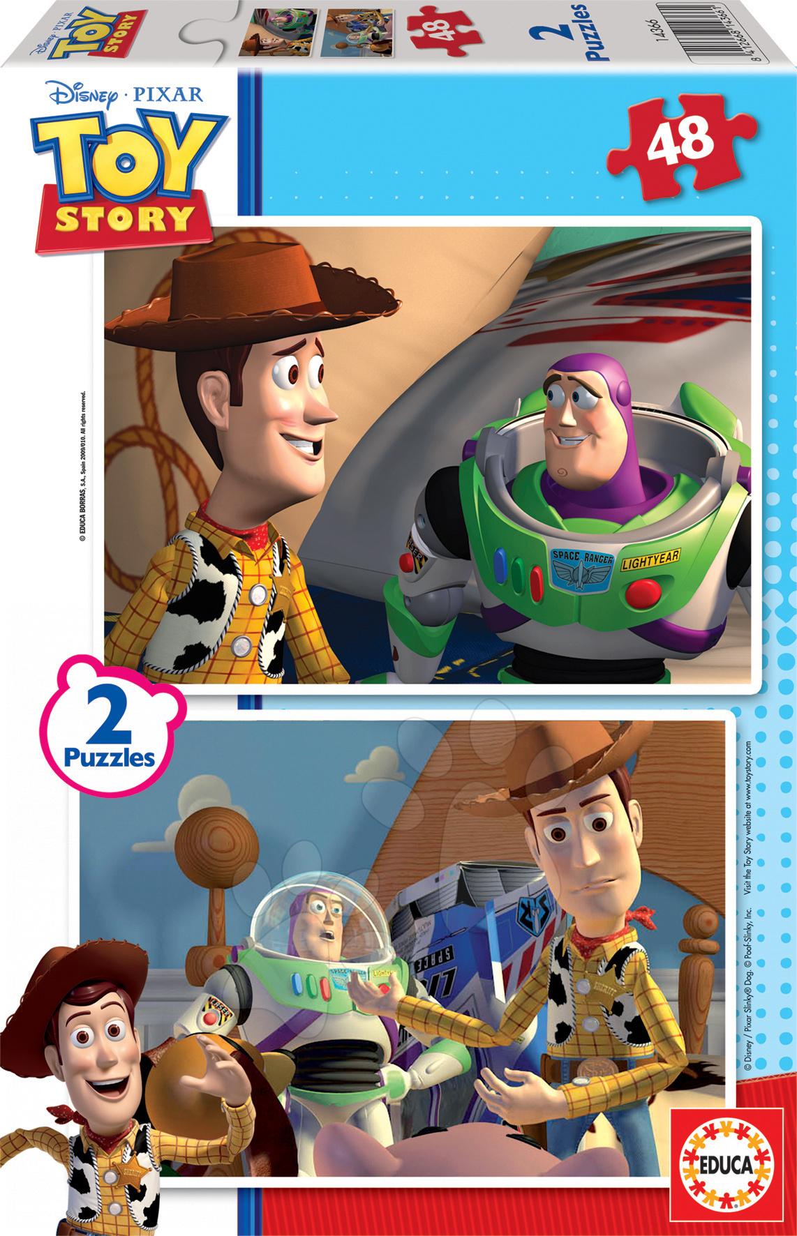 Detské puzzle do 100 dielov - Puzzle Walt Disney - Toy Story Educa 2x 48 dielov
