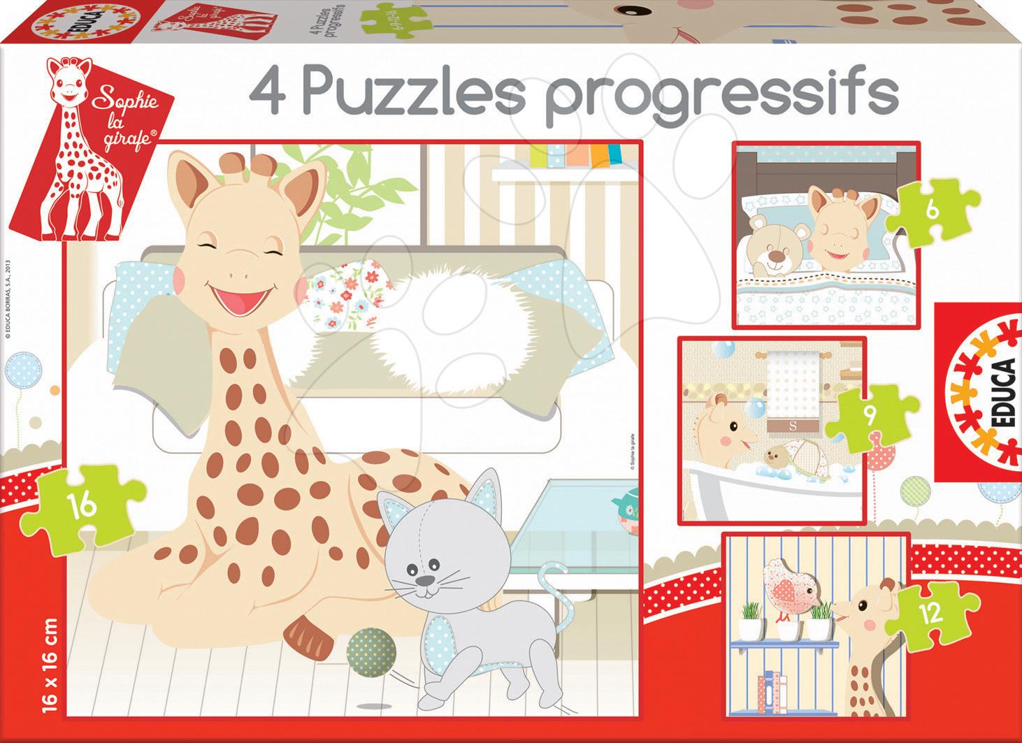 Puzzle Žirafa Sofia Educa 16-12-9-6 dielov od 24 mes