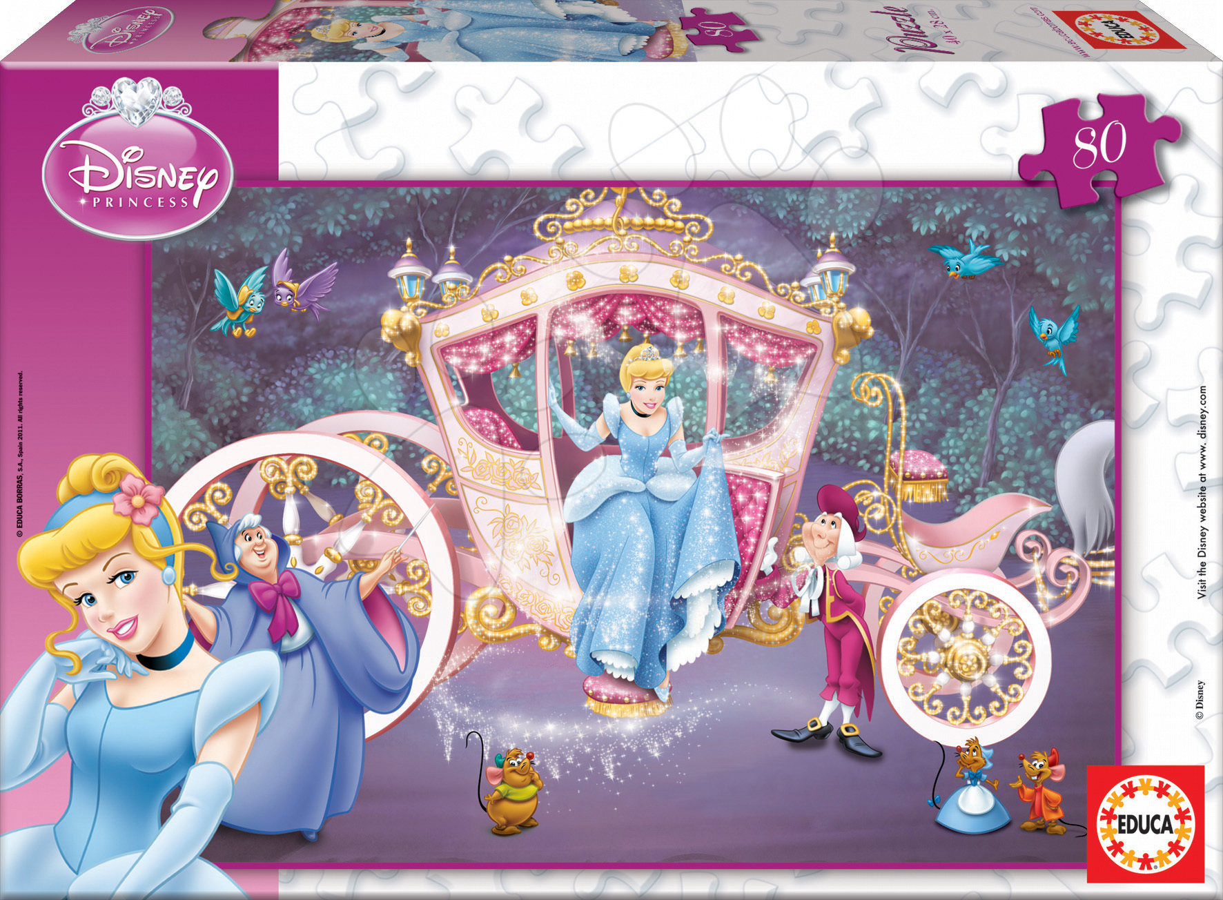 Detské puzzle do 100 dielov - Puzzle Disney Popoluška Educa 80 dielov od 5 rokov