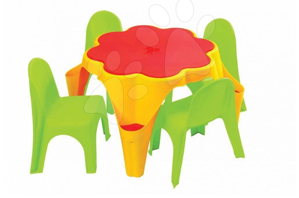Stůl na hraní s krytem květinka Starplast žlutý a  2 židle od 24 měsíců