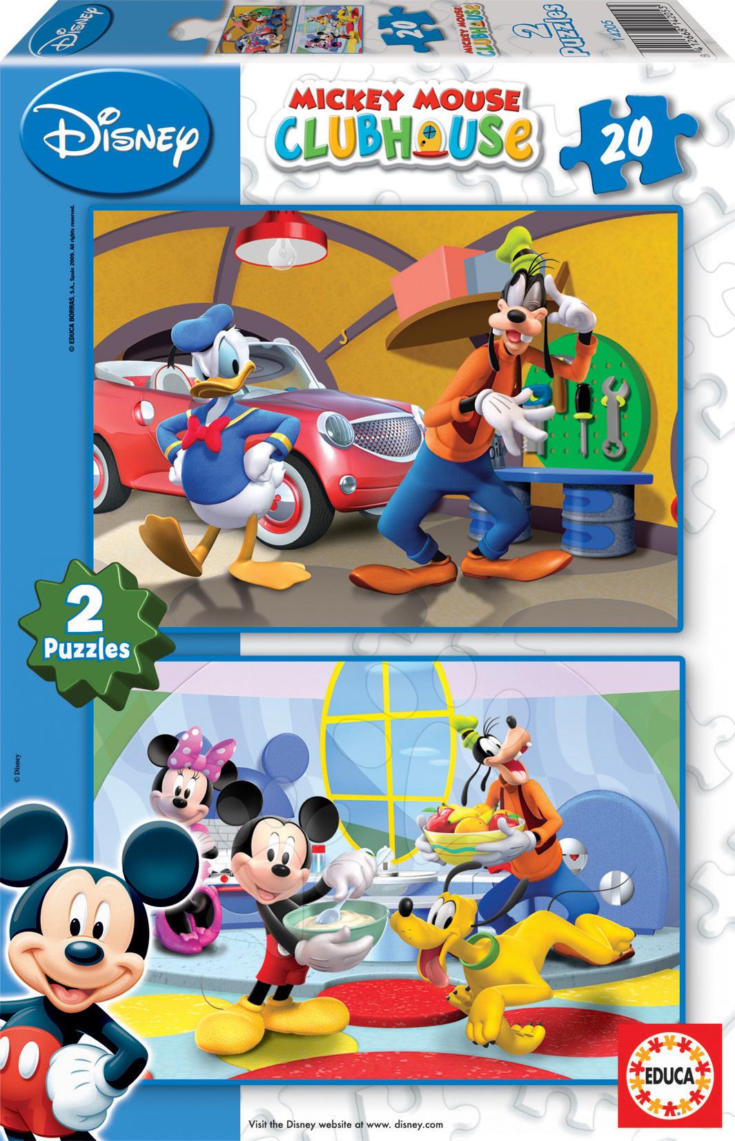 Detské puzzle do 100 dielov - Puzzle Disney Goofy Educa 2x 20 dielov