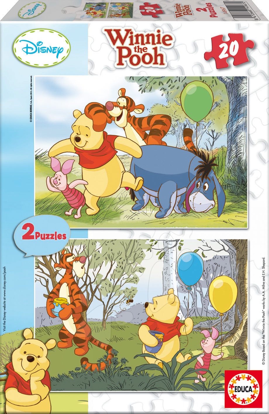 Detské puzzle do 100 dielov - Puzzle Macko Pú Educa 2x20 dielov