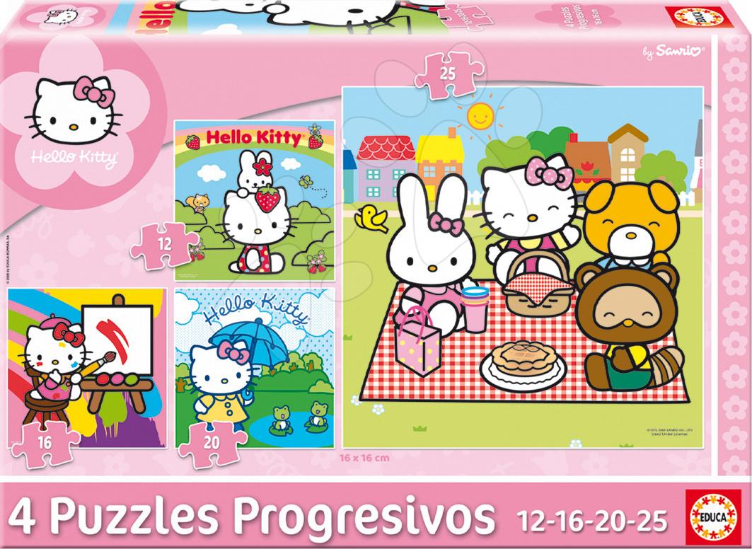 Progresivní dětské puzzle - Puzzle Hello Kitty Educa 25-20-16-12 dílů od 24 měsíců
