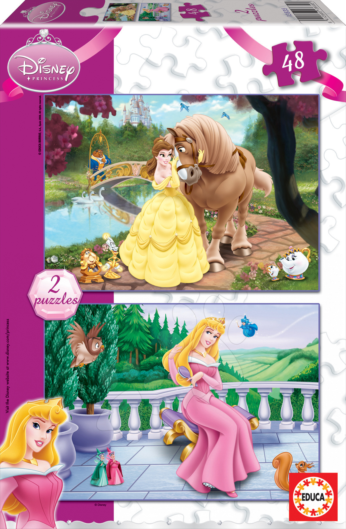 Dětské puzzle do 100 dílků - Puzzle Disney Princezny Educa 2 x 48 dílků