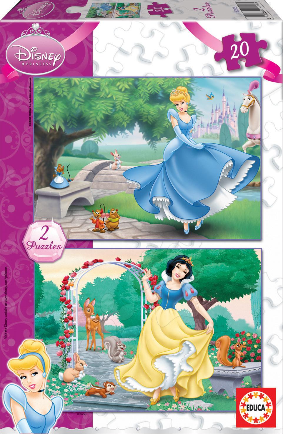 Detské puzzle do 100 dielov - Puzzle Disney Snehulienka a Popoluška Educa 2x 20 dielov
