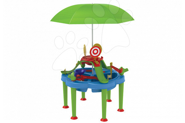 Detský záhradný nábytok - Stôl na hranie Multi Activity Starplast na vodu a piesok so slnečníkom