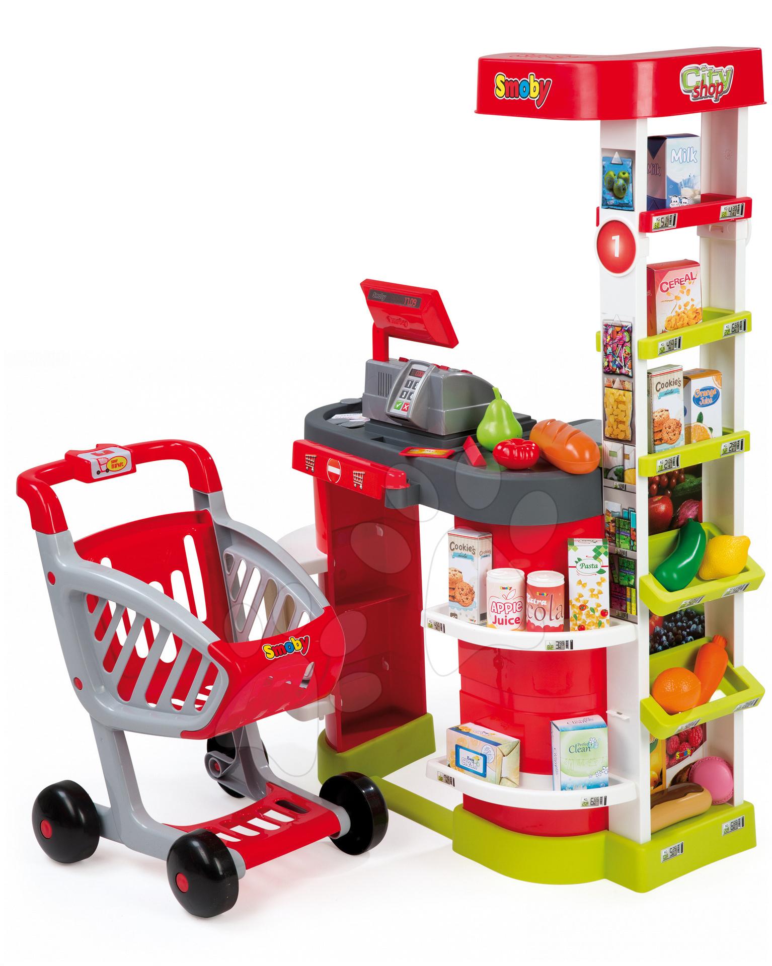 Obchody pre deti - Obchod City Shop Smoby s elektronickou pokladňou a vozíkom so 44 doplnkami