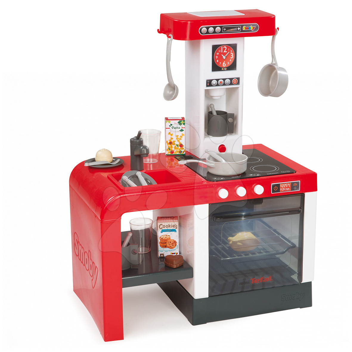 Staré položky - Elektronická kuchynka TEFAL Chefronic Smoby červená so zvukmi a svetlom + 20 doplnkov 62 cm výška