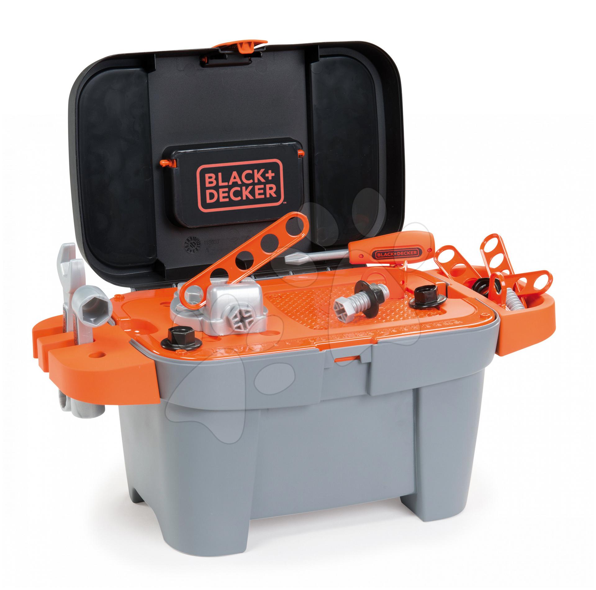 Pracovní dílna Black+Decker Tooly 2v1 Smoby v kufříku s 18 doplňky