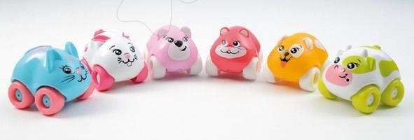 Sada 3 autíček - zvířátka Animal Planet Smoby + 1 zdarma 7 cm pejsek, kočička, zajíček, kravička, medvídek, myška od 12 měsíců
