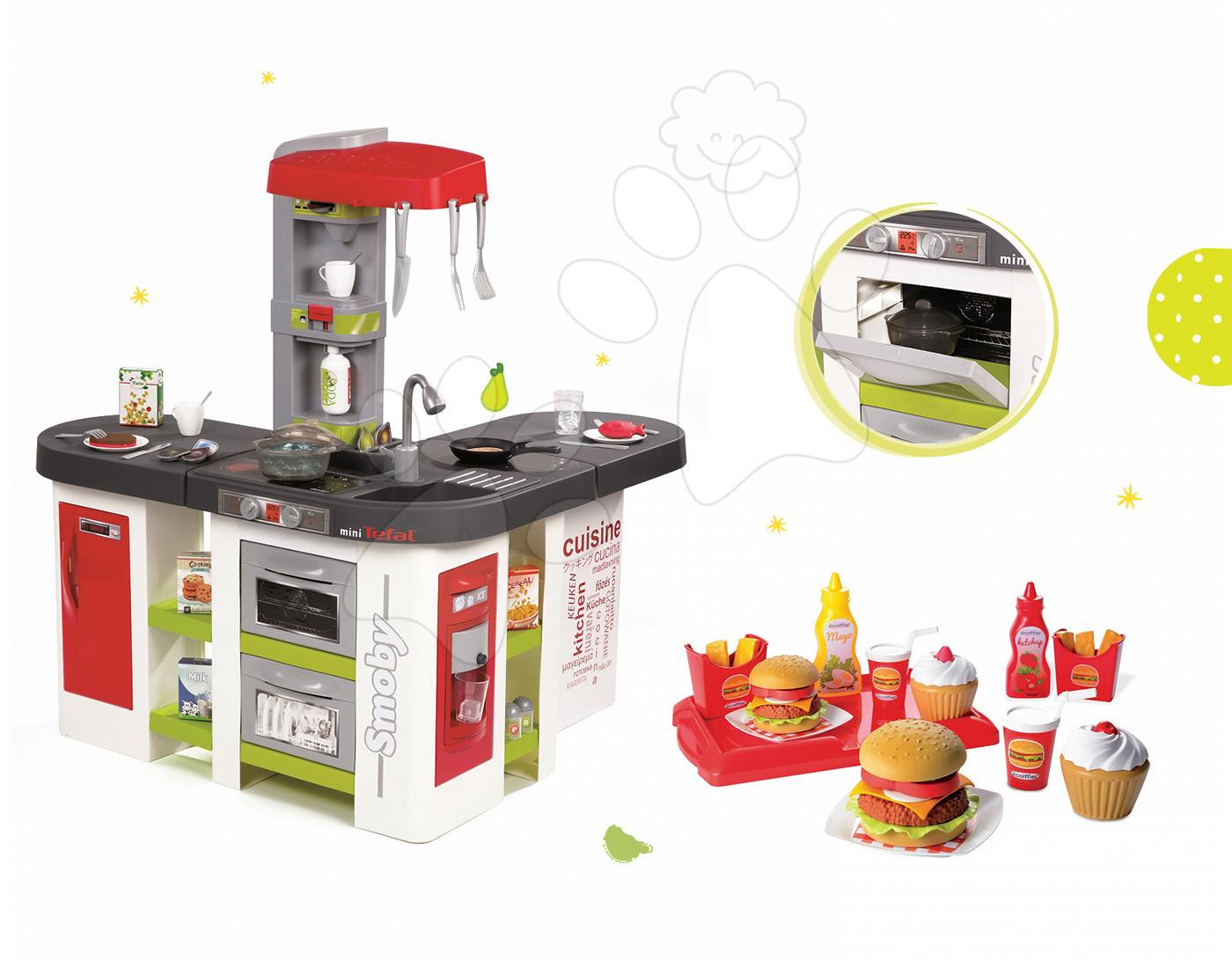 Set dětská kuchyňka Tefal Studio XXL Smoby elektronická s magickým bubláním a hamburgery s doplňky