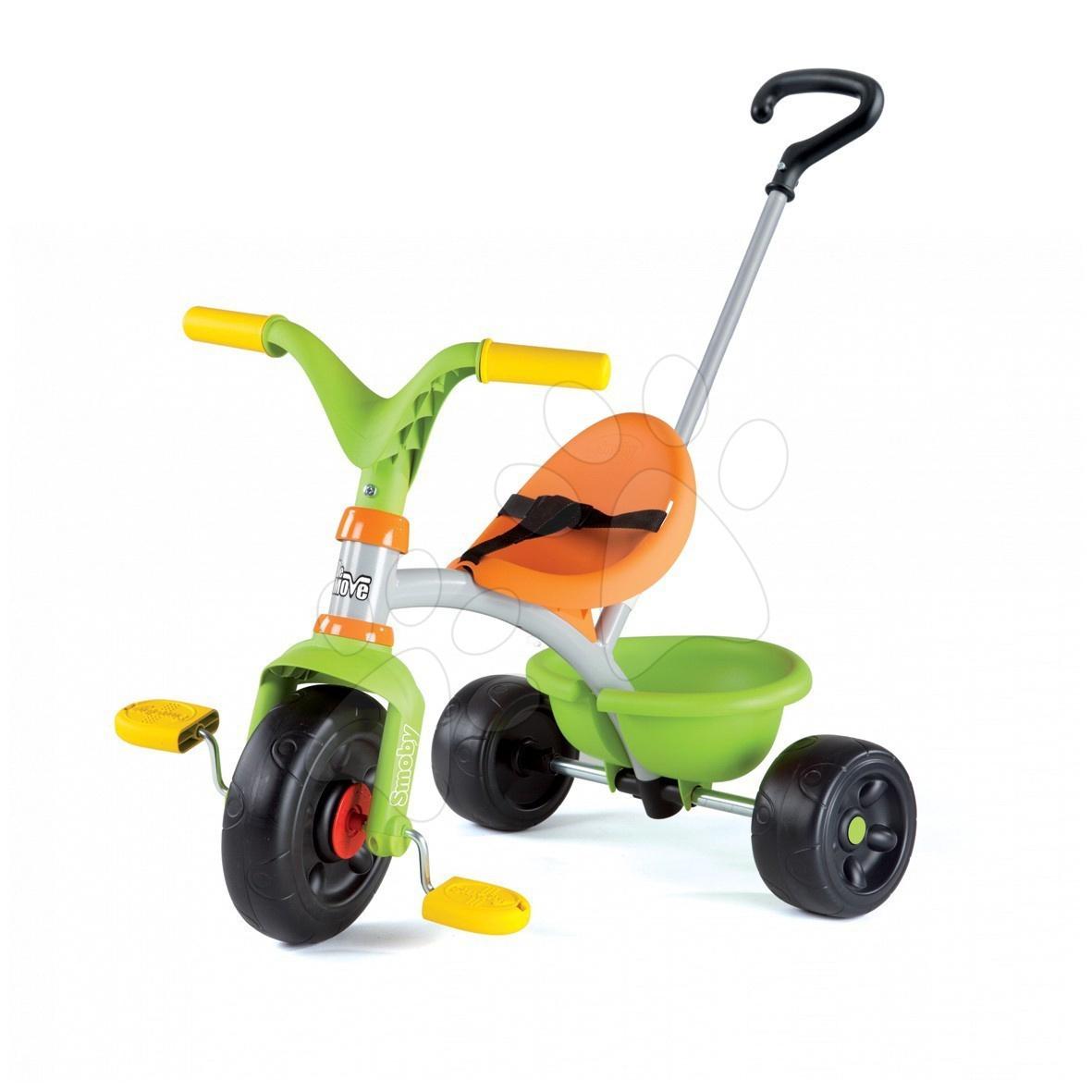 Tricicletă verde Be Move Garden cu mâner Smoby de la 15 luni