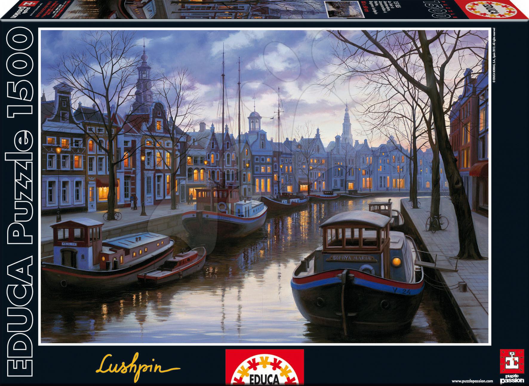 Puzzle Eugene Lushpin Amsterdam In The Evening Educa 1500 dílků