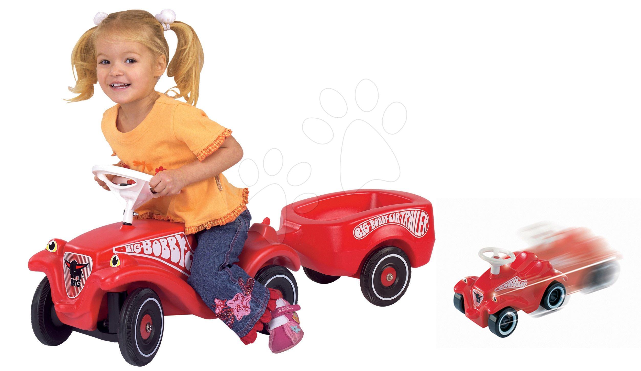 Set odrážedlo Bobby Classic BIG, přívěsný vozík a autíčko na natahování Mini Bobby od 12 měsíců
