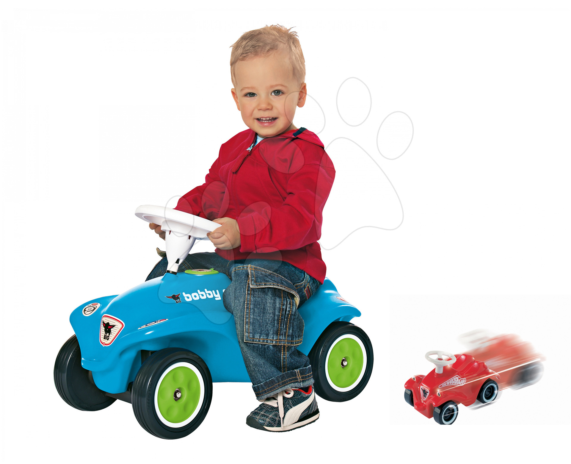 Odrážadlá sety - Set odrážadlo New Bobby BIG s klaksónom tyrkysové a autíčko Mini Bobby na naťahovanie od 12 mes
