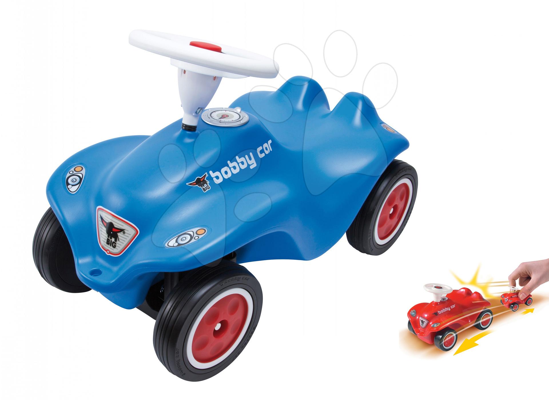 Odrážadlá sety - Set odrážadlo New Bobby BIG s klaksónom modré a autíčko New Mini Bobby na naťahovanie od 12 mes