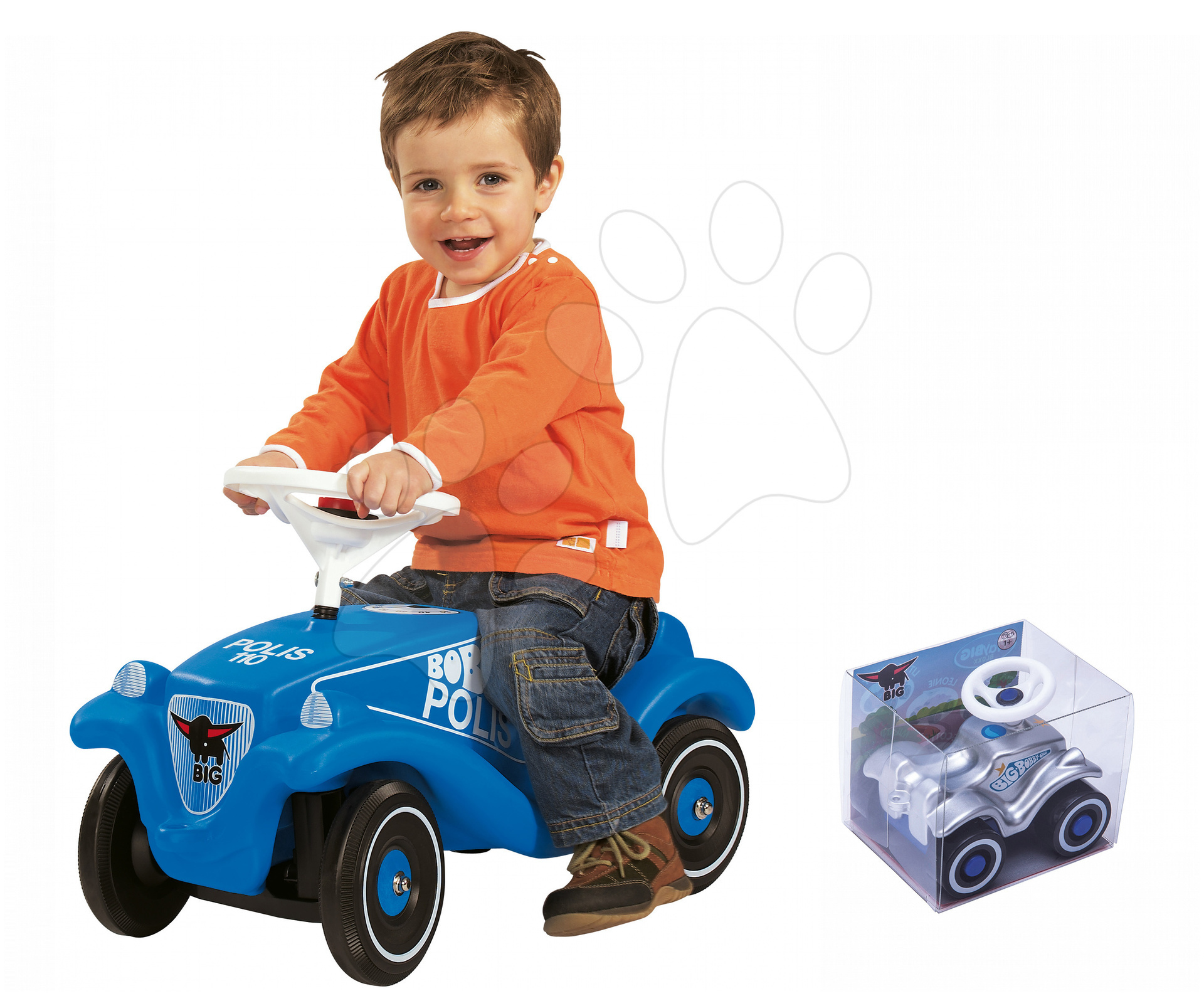 Set odrážedlo Bobby Classic Policie BIG s klaksonem modré a natahovací autíčko Mini Bobby 12 měsíců