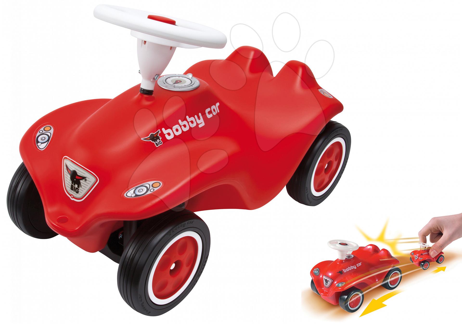 Set odrážedlo New Bobby BIG s klaksonem červené a natahovací autíčko New Mini Bobby