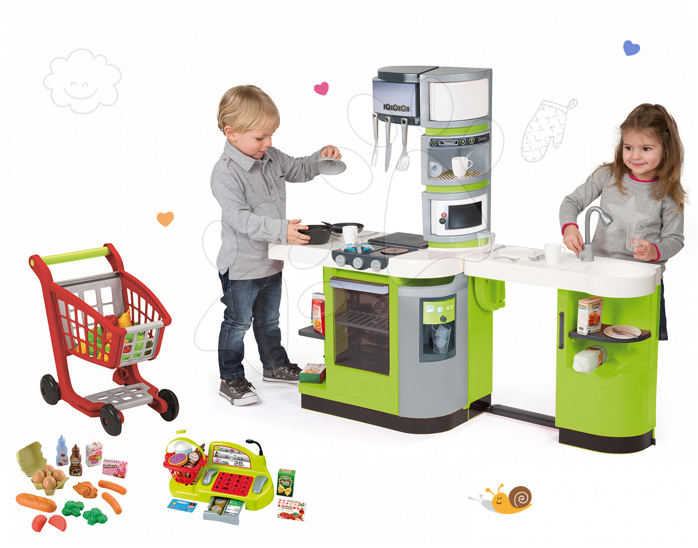 Smoby set kuchynka CookMaster Verte, Écoiffier pokladňa, nákupný košík, potraviny 311102-25