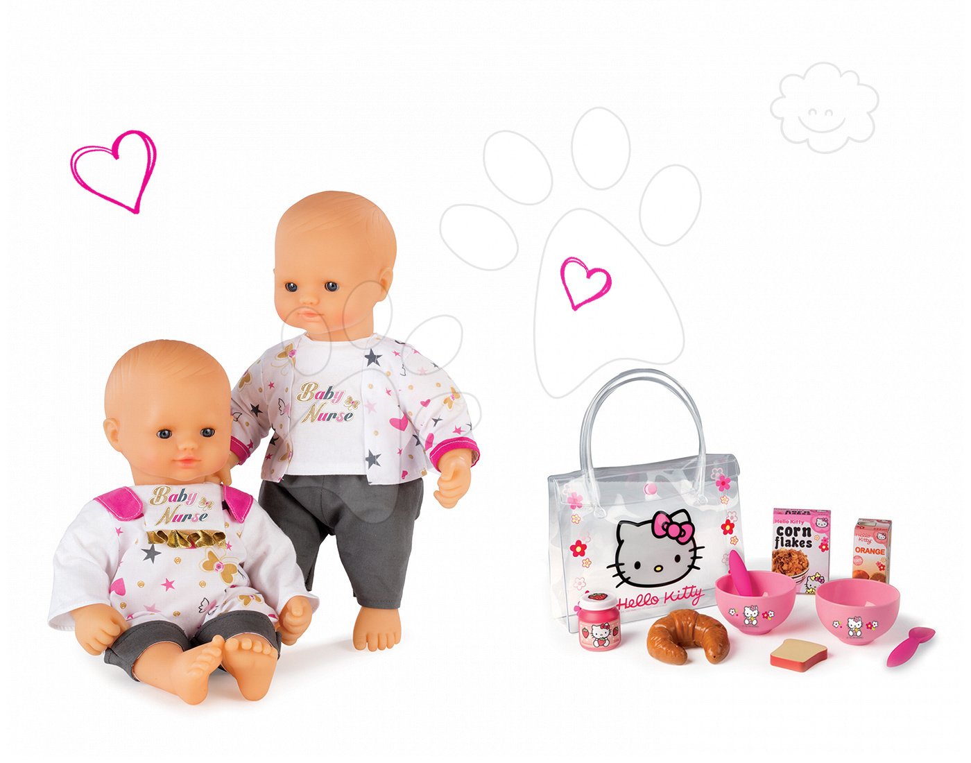 Smoby set panenka Baby Nurse Zlatá edice a snídaňový set Hello Kitty 220100-17