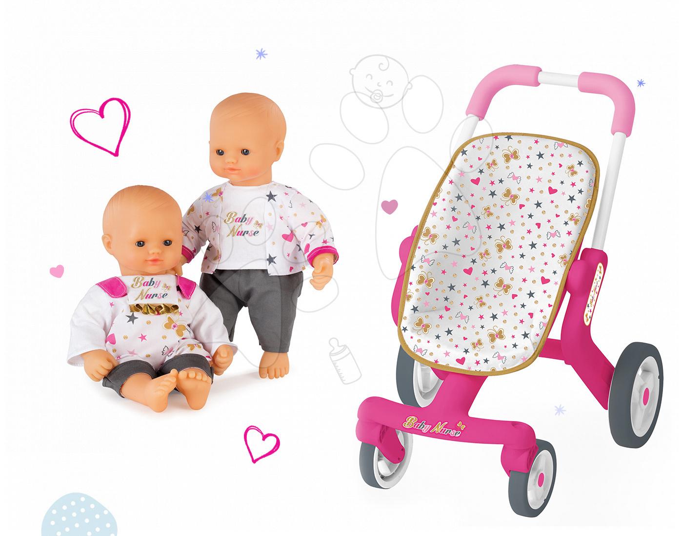 Set panenka Baby Nurse Zlatá edice Smoby 32 cm a sportovní kočárek pro panenku