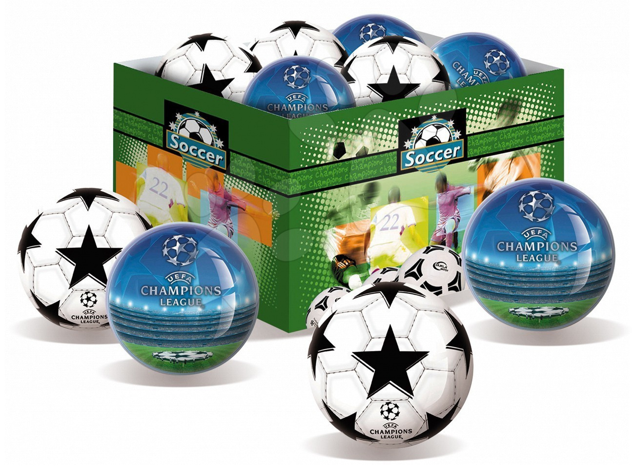 Gumená lopta Champions League Unice 15 cm biela/modrá