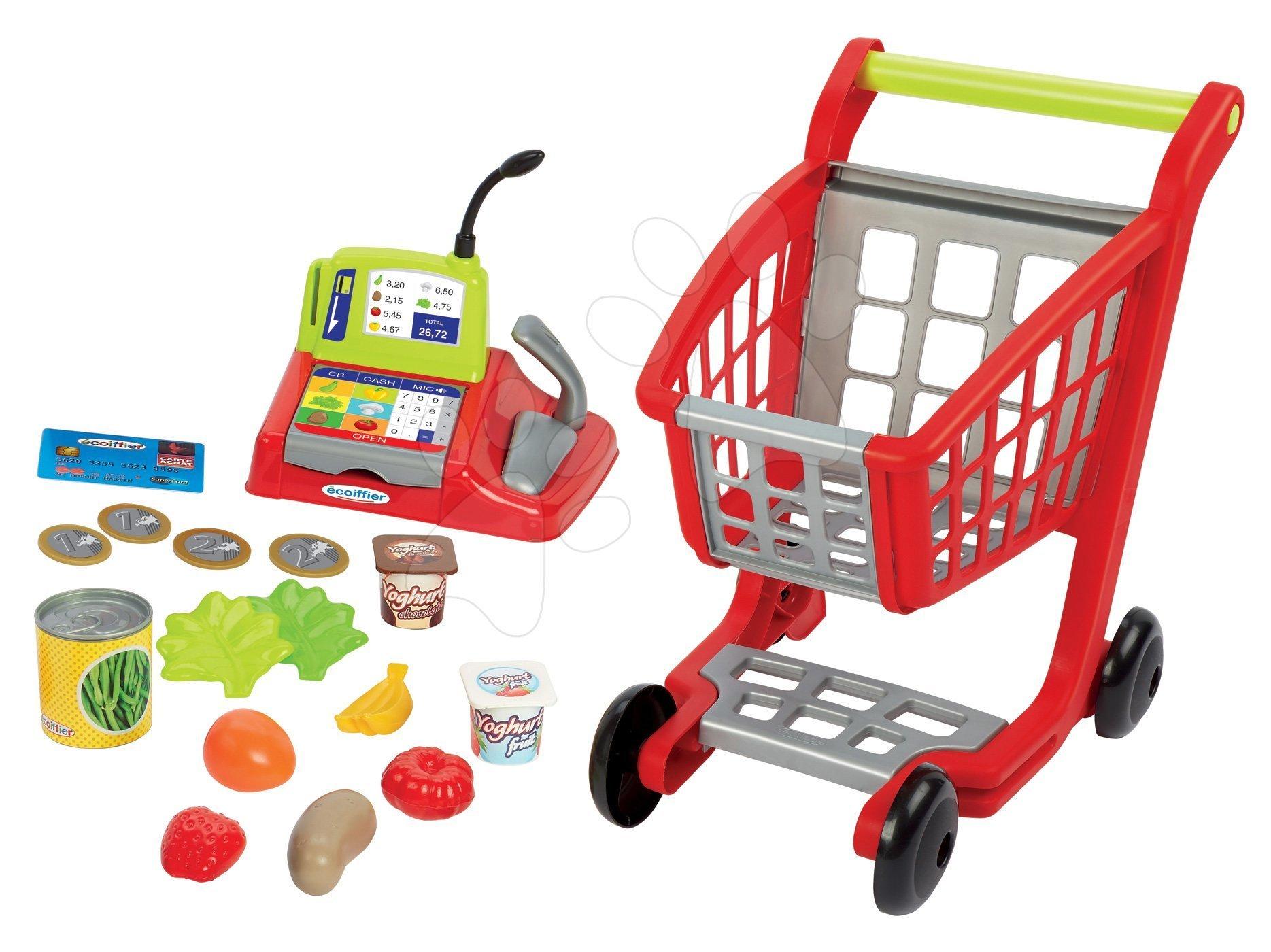 Écoiffier pokladňa s nákupným vozíkom 100% Chef s potravinami 1219