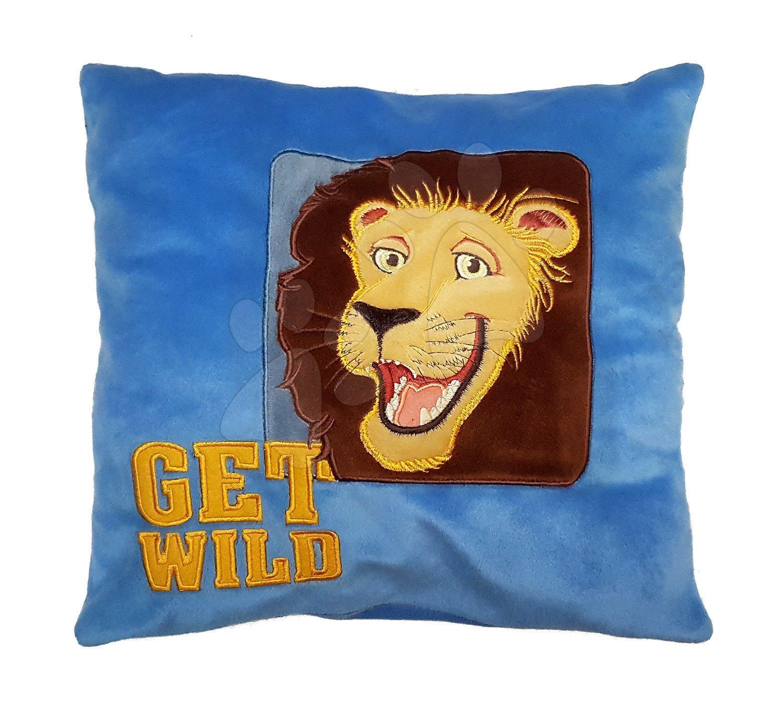 Plyšový polštář Get wild Ilanit modrý 36*36 cm