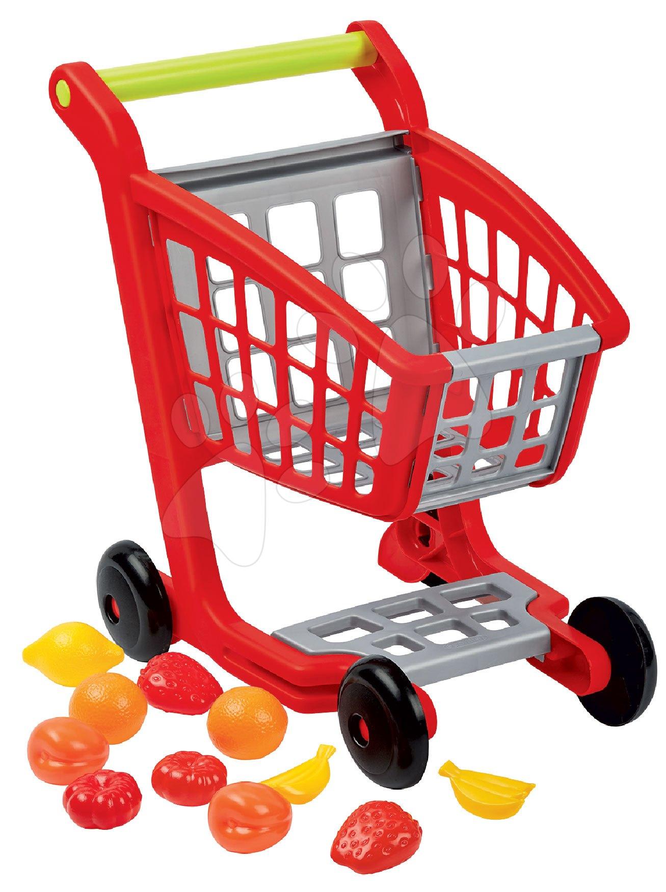 Obchody pre deti - Nákupný vozík 100% Chef Écoiffier s potravinami a 13 doplnkami červeno-strieborný od 18 mes