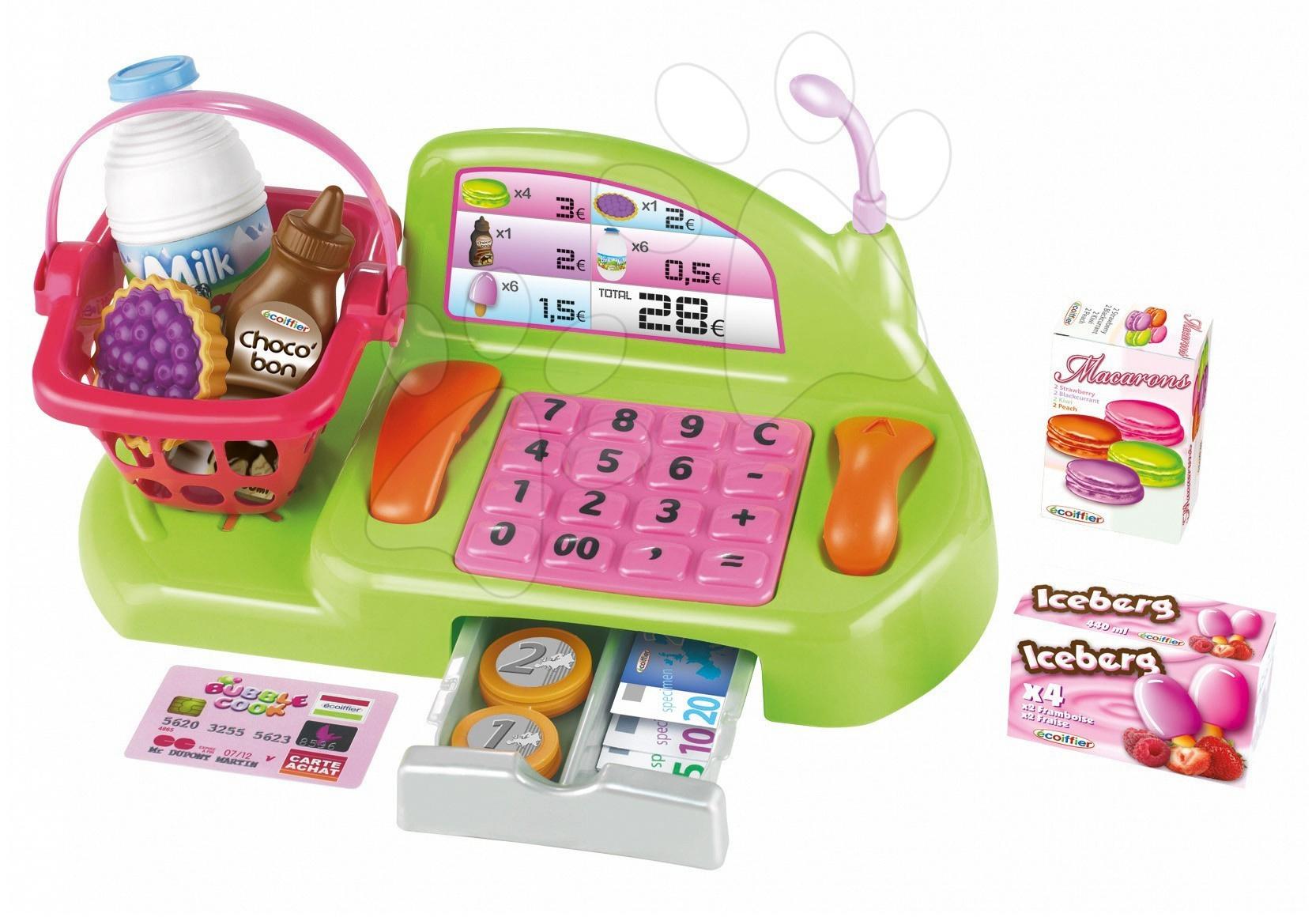 Casă de marcat Bubble Shop Écoiffier cu coş de cumpărături şi 26 accesorii de la 18 luni