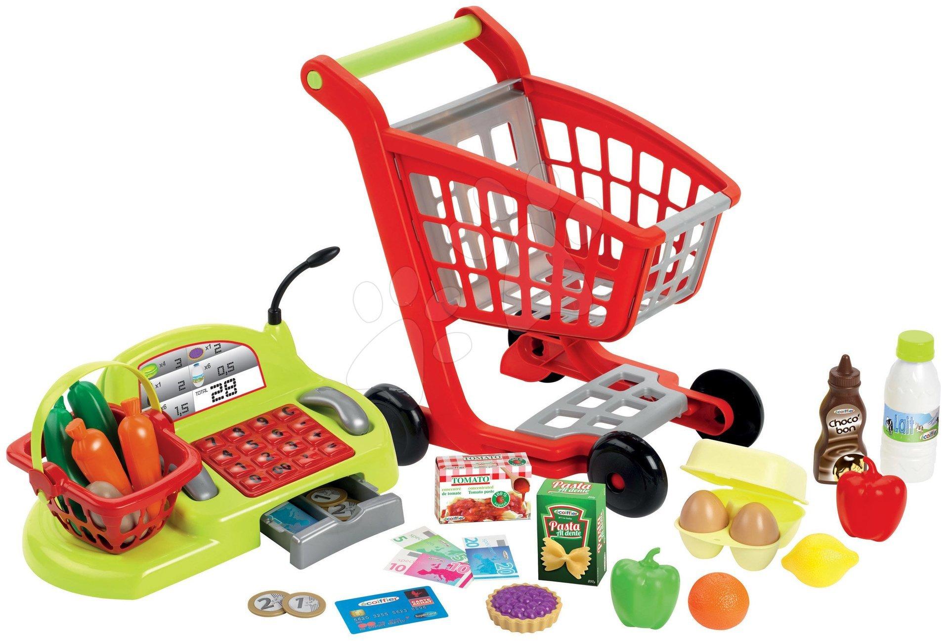 Obchody pre deti - Nákupný vozík 100% Chef Écoiffier s potravinami, pokladňou a 44 doplnkami od 18 mes
