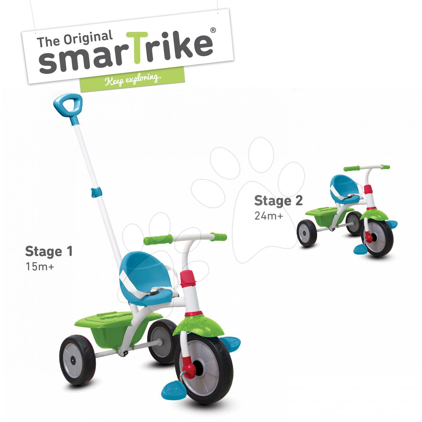 Tříkolka Fun 2v1 smarTrike s vodicí tyčí tyrkysově-zelená od 15 měsíců