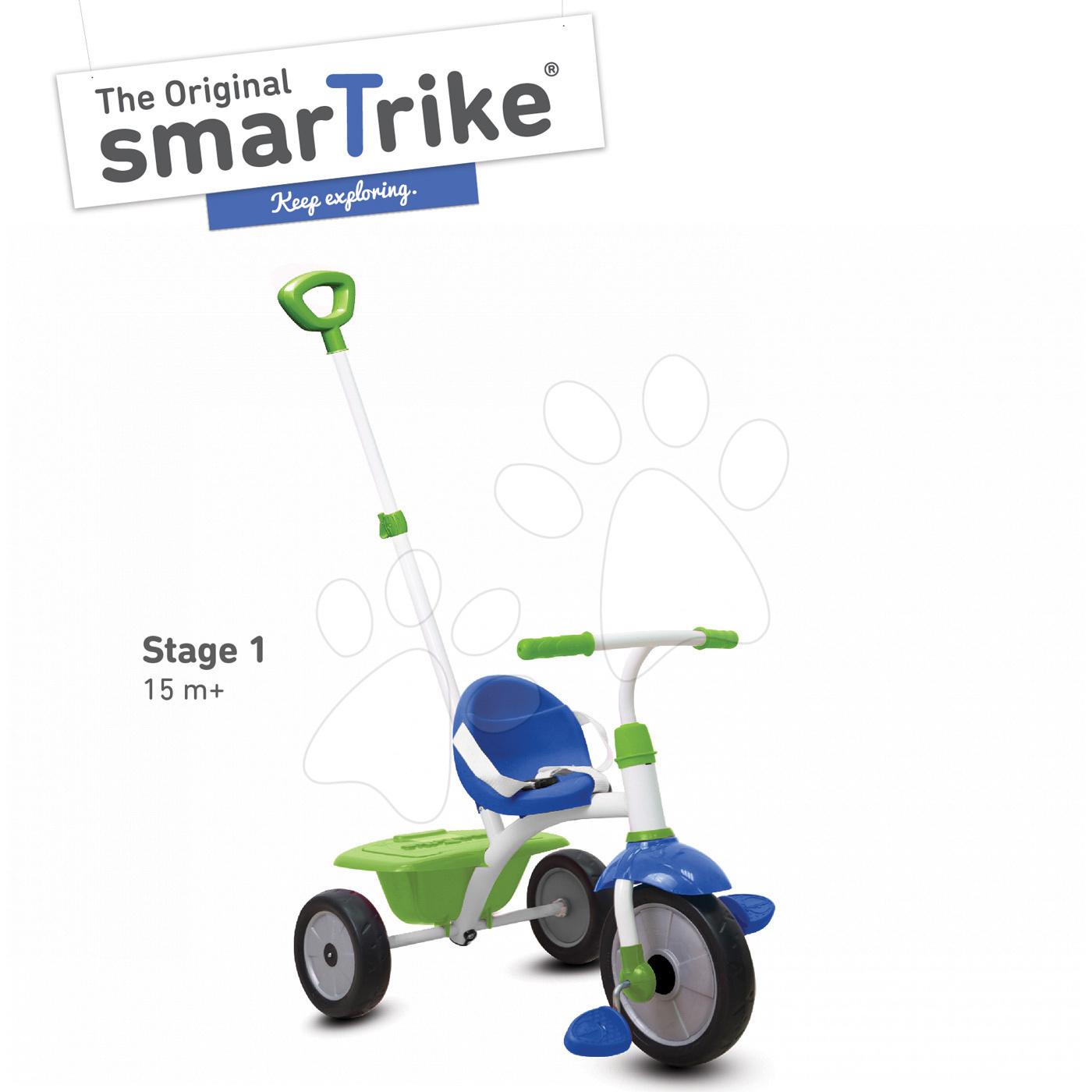 Tříkolka Fun 2v1 smarTrike s vodicí tyčí modro-zelená od 15 měsíců