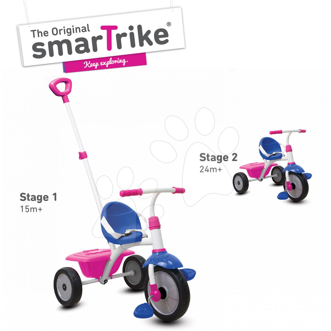 Tříkolka Fun 2v1 smarTrike s vodicí tyčí růžovo-fialová od 15 měsíců