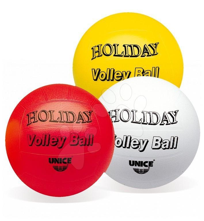 Sportovní míče - Volejbalový míč Holiday Volleyball Unice pryžový 22 cm bílý/červený/žlutý