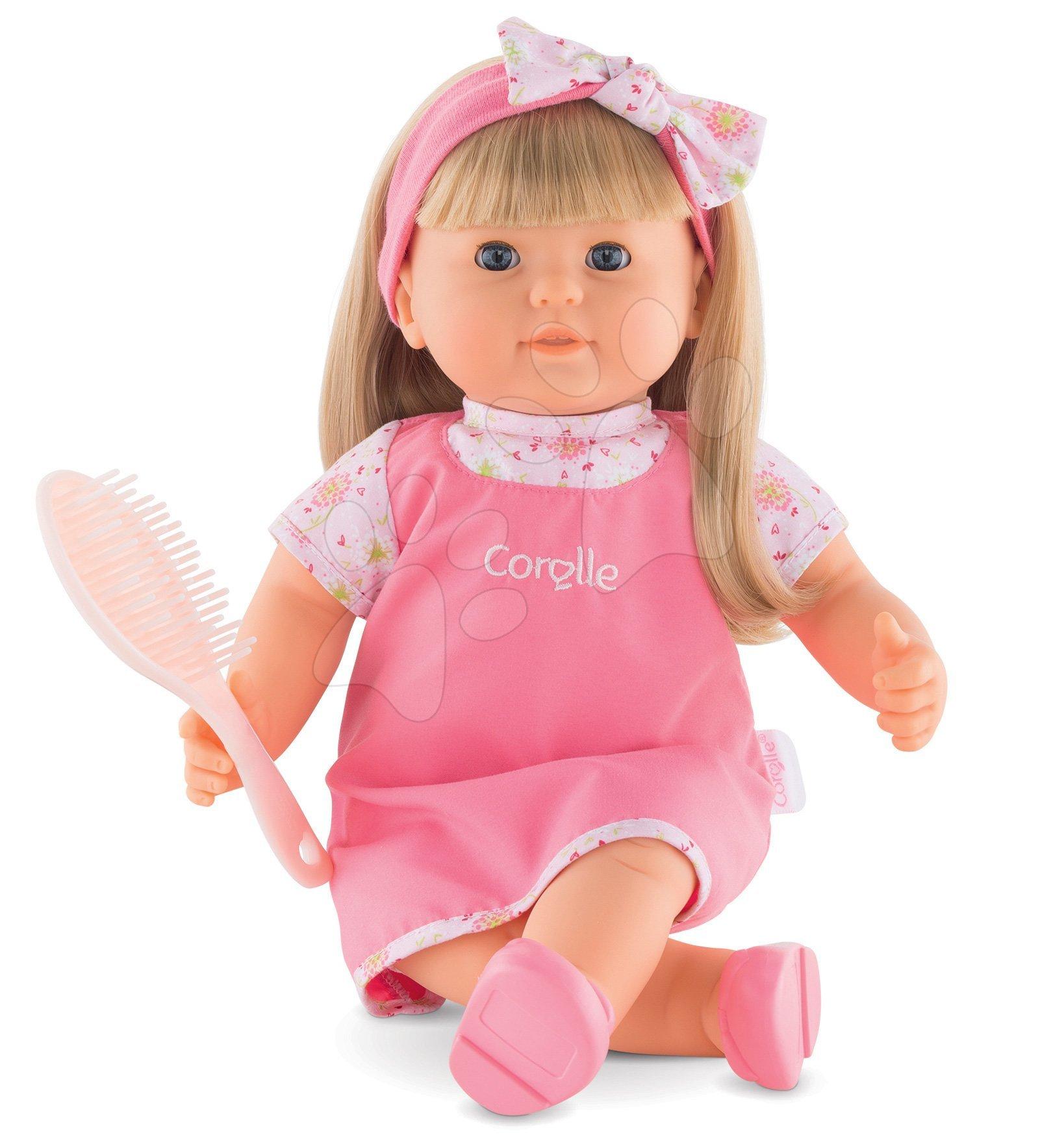 Panenky od 3 let - Panenka Adele Mon Grand Poupon Corolle 36 cm s dlouhými blond vlasy modrými mrkacími očima a hřebenem od 3 let
