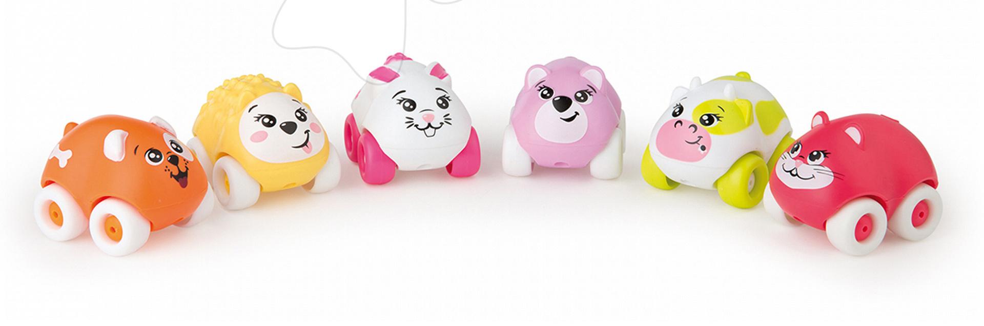 Autíčka - Zvieratko na kolieskach Sweet Planet Smoby psík, ježko, zajačik, myška, mačička, kravička 7 cm od 12 mes