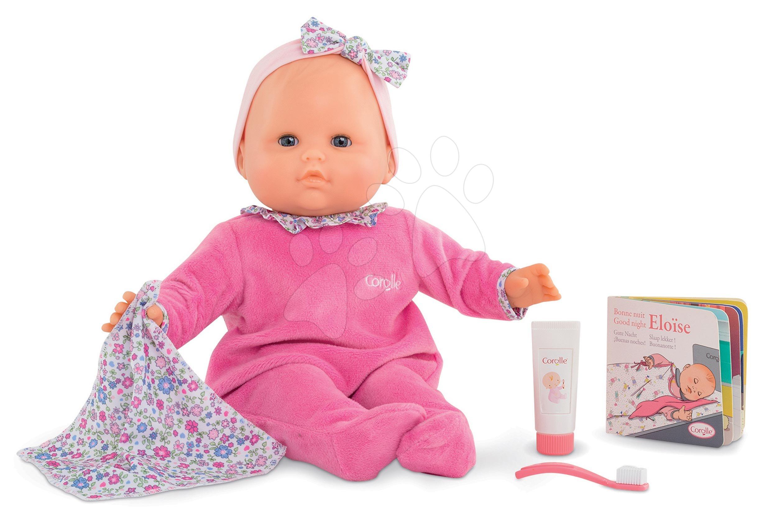 Panenky od 24 měsíců - Panenka Eloise Pink jde do postýlky Mon Grand Poupon Corolle 36 cm s modrými mrkacími očima a 4 doplňky od 24 měs