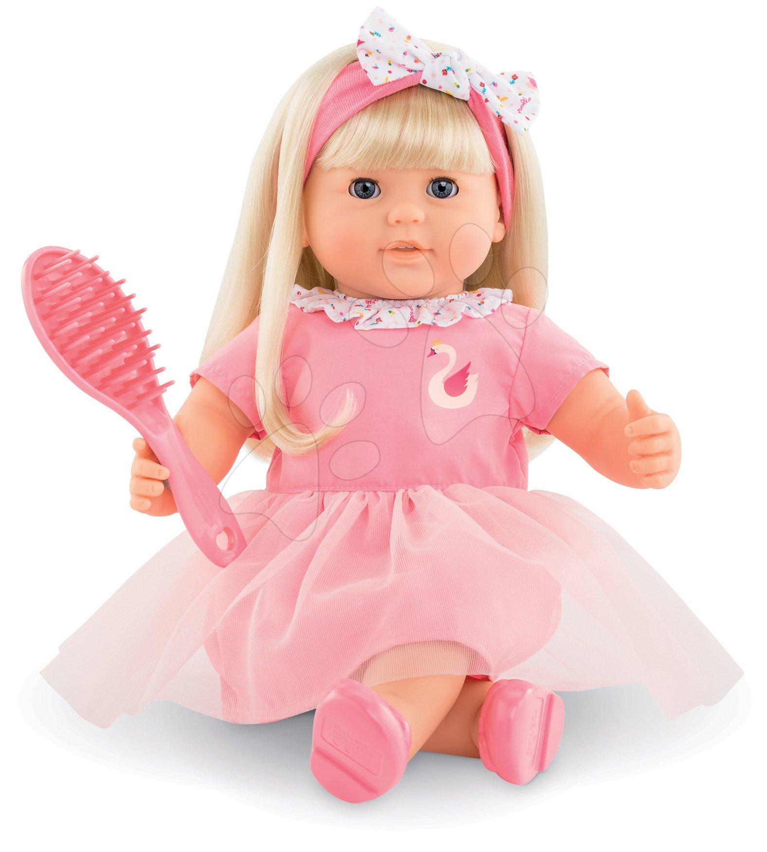 Bábika Adele s blond vlasmi Mon Grand Poupon Corolle 36 cm s modrými klipkajúcimi očami a hrebeňom od 3 rokov
