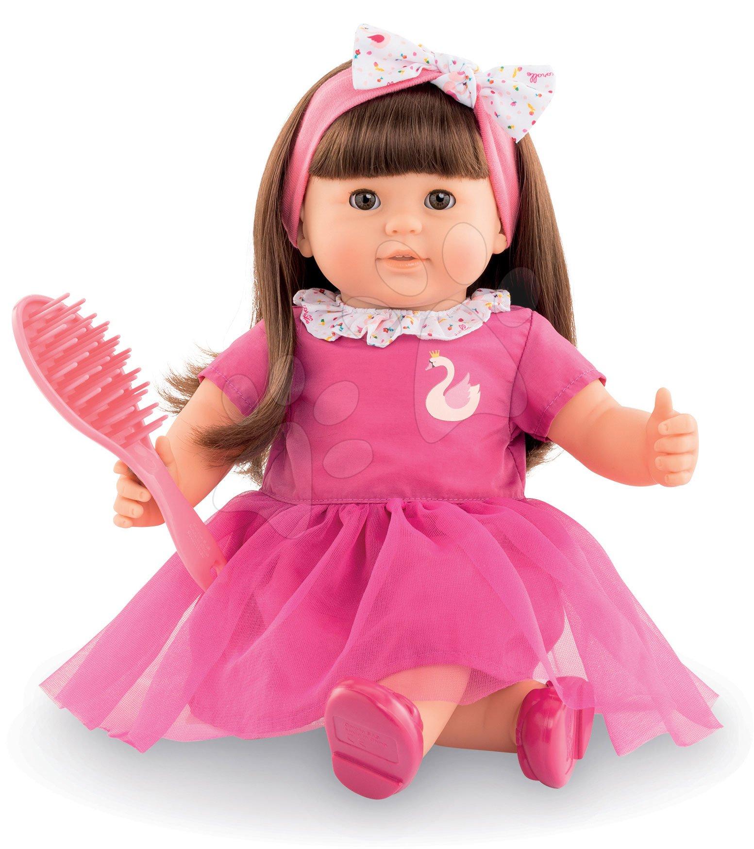 Hračky pre bábätká - Bábika Alice s hnedými vlasmi Mon Grand Poupon Corolle 36 cm s hnedými klipkajúcimi očami a hrebeňom od 3 rokov