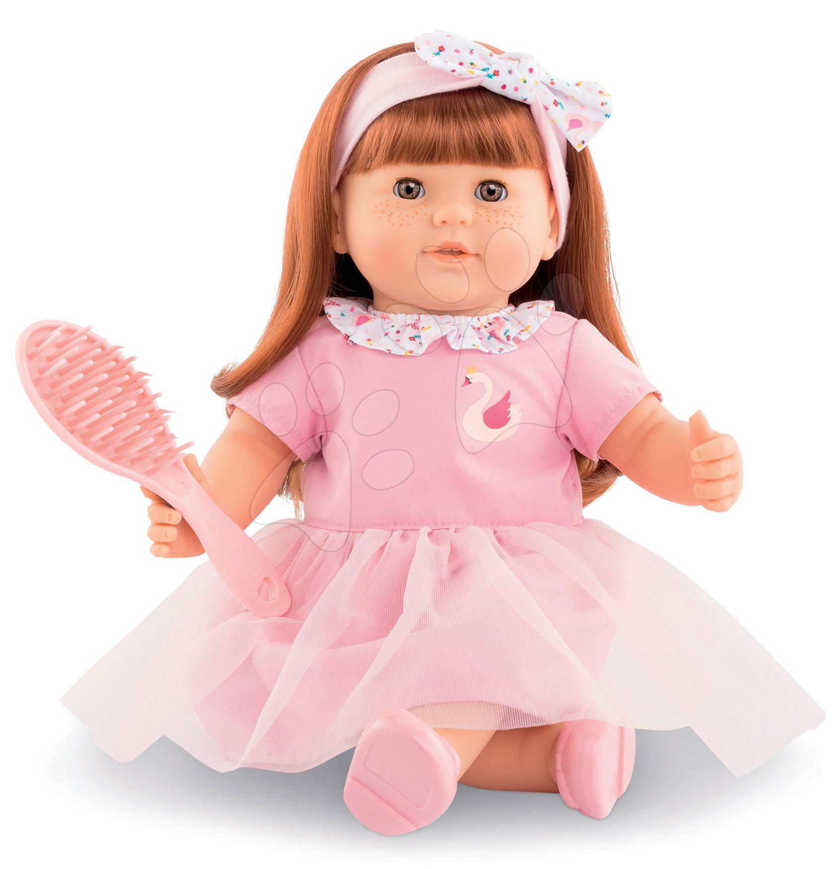 Hračky pre bábätká - Bábika Ambre s ryšavými vlasmi Mon Grand Poupon Corolle 36 cm s hnedými klipkajúcimi očami a hrebeňom od 3 rokov